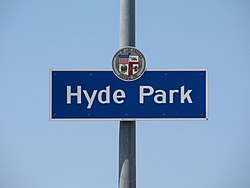 """Hyde Park"" city signage located at Crenshaw Boulevard & 79th Street."