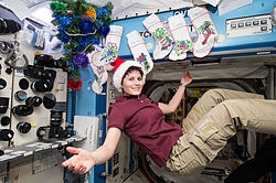 ISS-42 Samantha Cristoforetti with Santa Claus hat in the Destiny module.jpg