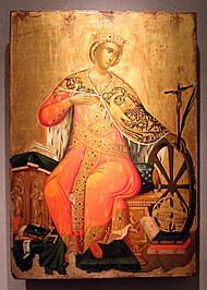 Icon of Saint Catherine. Painted by Viktor. Mid 17th c. (8383390521).jpg