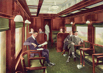 Panama Limited - Interior of the club car on the Panama Limited, circa 1917.