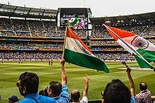 Indian Cricket supporters at the Melbourne Cricket Ground (MCG) during the 2015 Cricket World Cup.jpg