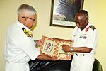 Indian Navy official presents a memento to the Chief of the Djiboutian Navy,.JPG
