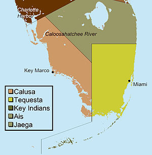A color map of the lower portion of the Florida peninsula separated into three main regions
