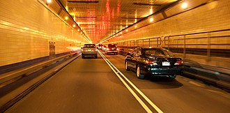 Lincoln Tunnel - Interior of the tunnel