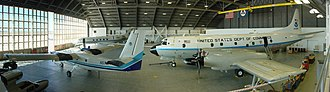 NOAA ships and aircraft - Inside Hangar 5, then the home of NOAA's AOC at MacDill Air Force Base, on 3 November 2008. The AOC moved to Lakeland Linder Regional Airport in Lakeland, Florida, in June 2017.