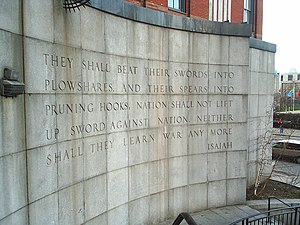 Book of Isaiah - Isaiah 2:3–4 is taken as an unofficial mission statement by the United Nations. (Isaiah Wall in Ralph Bunche Park, a New York City park near UN headquarters)