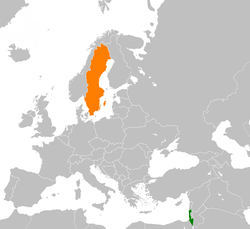 Map indicating locations of Israel and Sweden