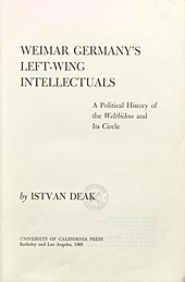 István Deák Weimar Germany's left-wing intellectuals 1968 title.jpg