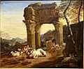 Italian pastoral landscape with the Temple of Vespasian, by Johann Heinrich Roos, 1668, oil on canvas - Hessisches Landesmuseum Darmstadt - Darmstadt, Germany - DSC09945.jpg
