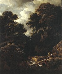 Wooded mountainous landscape with fishermen and resting travellers near a waterfall