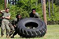 JROTC cadets compete during the 2014 Superintendent's Cup at Bluffton High School pushing a tire.jpg