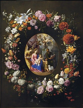 Jacob Foppens van Es - A garland of flowers and fruit with a central cartouche depicting the Holy Family