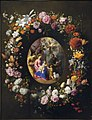 Jacob Foppen van Es, Hendrick van Balen - A garland of flowers and fruit with a central cartouche depicting the Holy Family.jpg