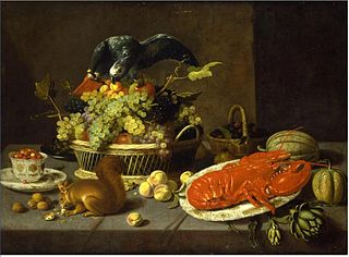 Still life with a squirrel and a parrot