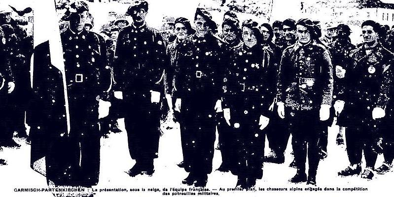 File:Jacques Faure porte-drapeau de la délégation française aux Jeux Olympique de Garmisch-Partenkirchen en 1936.jpg