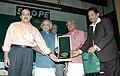 Jairam Ramesh presenting the Indira Priyadarshini Vriksha Mitra Award to Shri Binoy Viswam, Minister for Forest & Environment, Shri K.K. Srivastava, Addl. PCCF and Shri A.P.M. Mohammed Hanish.jpg