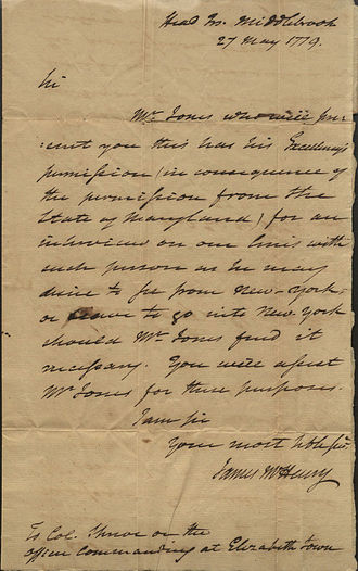 James McHenry - Letter from James Mchenry to Israel Shreve, 1779