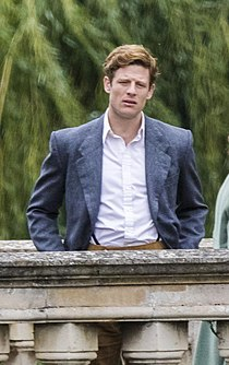 James Norton filming TV series Grantchester on Clare College Bridge in Cambridge in 205