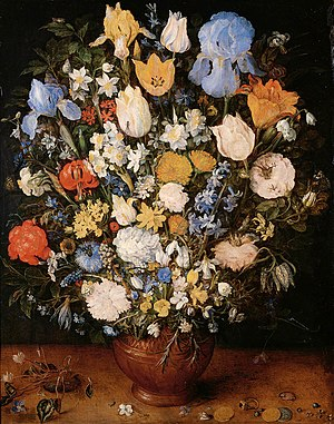 Still life - Jan Brueghel the Elder (1568–1625), Bouquet (1599). Some of the earliest examples of still life were paintings of flowers by Netherlandish Renaissance painters. Still-life painting (including vanitas), as a particular genre, achieved its greatest importance in the Golden Age of Netherlandish art (ca. 1500s–1600s). The English term still life derives from the Dutch word stilleven.