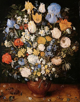 Still life - Jan Brueghel the Elder (1568–1625), Bouquet (1599). Some of the earliest examples of still life were paintings of flowers by Netherlandish Renaissance painters. Still-life painting (including vanitas), as a particular genre, achieved its greatest importance in the Golden Age of Netherlandish art (ca. 1500s–1600s).
