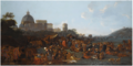 Jan Miel - Figures Feasting at a Fair in Prati, Outside the Walls of Rome, with the Saint Peter's Basilica and Monte Mario Beyond.PNG