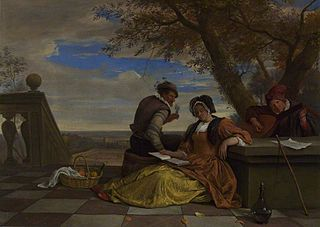 Two Men and a Young Woman making Music on a Terrace