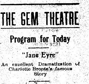 Jane Eyre (1910 film) - An advertisement in the Moberly Monitor-Index