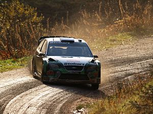 Jari-Matti Latvala - Latvala driving his Ford Focus RS WRC 06 at the 2007 Rally GB.