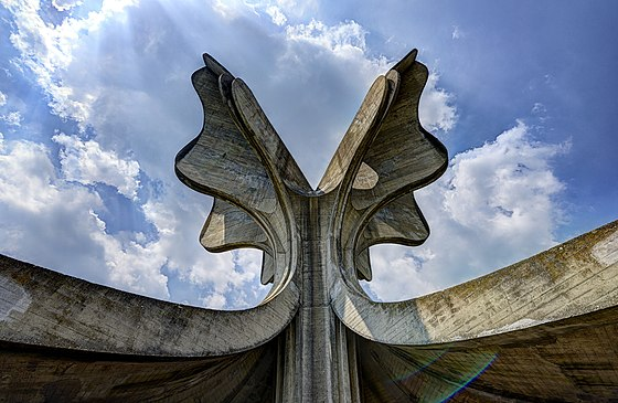 Stone Flower, a monument dedicated to the victims of Jasenovac death camp, which was part of the Genocide of Serbs committed by Ustase Jasenovac HDR D.jpg
