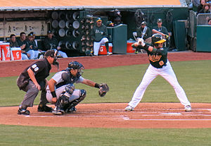 Jed Lowrie - Lowrie batting for the Oakland Athletics in 2013