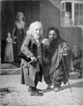 Jens Juel - Two Dwarfs, Obligeert, a Jewish pigtail-ribbon Vendor, beside the Roman Dwarf Bajocco in one of the Streets of Copenhagen - KMS2081 - Statens Museum for Kunst.jpg