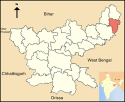 Location of Pakur district in Jharkhand