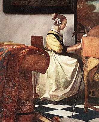 Isabella Stewart Gardner Museum - A detauil from Vermeer's The Concert, one of the stolen paintings.