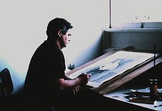 John Brack - John Brack working on the portrait of J.R. McLeod circa 1971