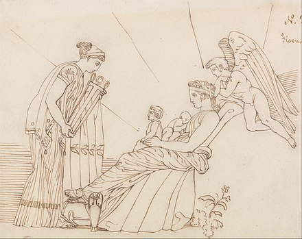 Phoebe gifts the oracular tripod to Apollo, by John Flaxman John Flaxman - To Phoebus at His Birth, From Aeschylus, Furies - Google Art Project.jpg