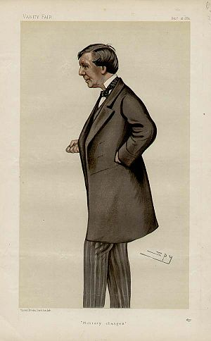"John Holms - ""Military changes"" Holms as caricatured by Spy (Leslie Ward) in Vanity Fair, February 1882"