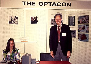 John G. Linvill - John Linvill with his daughter Candy demonstrating the Optacon in 1974