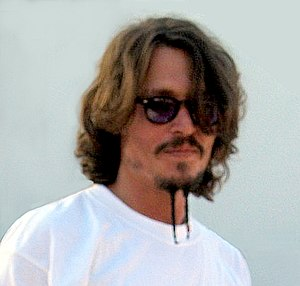 Jack Sparrow - Johnny Depp during filming, sporting Jack's 'goatee' applied in makeup.