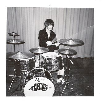 John Barbata - Barbata practices before a gig with The Turtles, 1965.