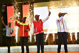Jubilee Party - Deputy Party Leader William Ruto (second left), President and Party Leader Uhuru Kenyatta (second right), and the Head of Jubilee Party Secretariat Hon. Raphael Tuju (right)