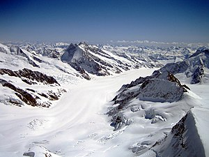 Jungfrau - View over of the Aletsch Glacier and Concordia from the summit of the Jungfrau