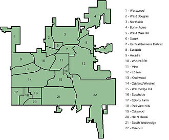 Kalamazoo, Michigan - Kalamazoo Neighborhoods numbered.