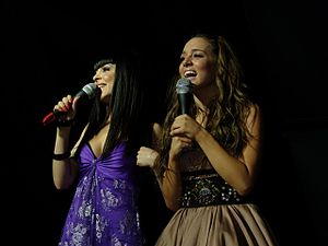 Greece in the Eurovision Song Contest 2008 - Kalomoira and Cyprus' Evdokia Kadi at a Eurovision Party on May 16, 2008.