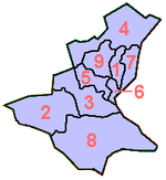 Centar is marked with number 1 on this map of the Sarajevo Canton.
