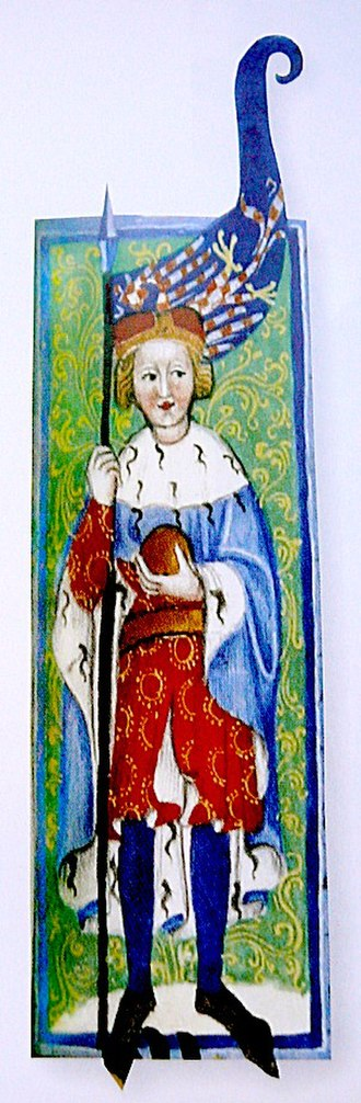 Louis I of Hungary - Charles, Margrave of Moravia (the future Charles IV, Holy Roman Emperor), the father of Louis's first wife, Margaret of Bohemia (from the Gelnhausen Codex)