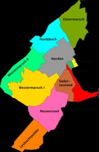 Norddeich (Norden) - Image: Karte der Norder Ortsteile