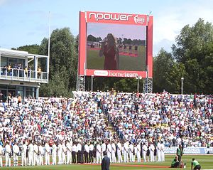 Graeme Swann - The players lined up at the start of the 2009 Ashes. England won the series 2–1, reclaiming the trophy from Australia.