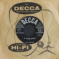 Kaye Ballard In Other Words Decca Records Inc. Catalog Number 9 29114 Photographed 15 April 2014.JPG