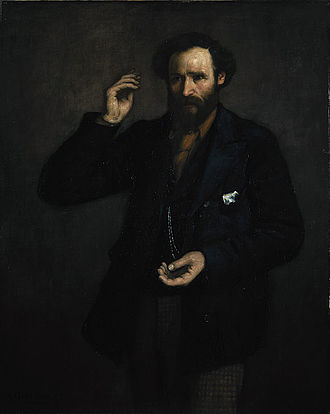 Portrait of ILP leader Keir Hardie painted at the time of the foundation of the organisation in 1893. Keir Hardie, Independent Labour.jpg