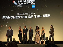 Kenneth Lonergan, Michelle Williams, Casey Affleck and four producers of Manchester by the Sea at the European premiere (30095767452).jpg
